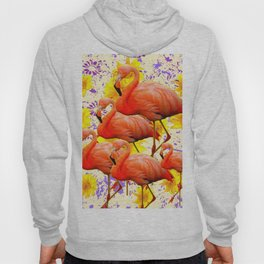 MODERN CREAM-YELLOW ART FLAMINGO  FLORAL PURPLE  ABSTRAC Hoody
