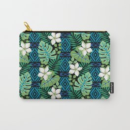 Tropical White Flowers Carry-All Pouch