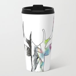 Black and White to Color Deer Head Travel Mug