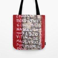 bukowski Tote Bags featuring Bukowski by Ibbanez