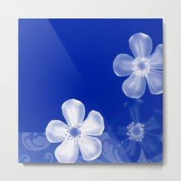 Retro 70s Flowers Sapphire Blue Metal Print
