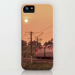 Mist sunset and a train iPhone Case