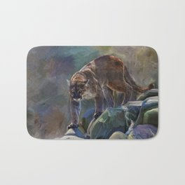 The Mountain King - Cougar Wildlife Art Bath Mat