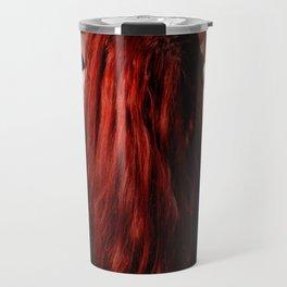 0788-MAK Submissive Redhead Woman Kneeling On Pedestal Long Red Hair Travel Mug