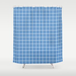 Livid - blue color - White Lines Grid Pattern Shower Curtain