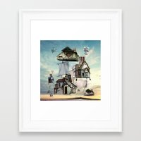 house Framed Art Prints featuring house by Кaterina Кalinich
