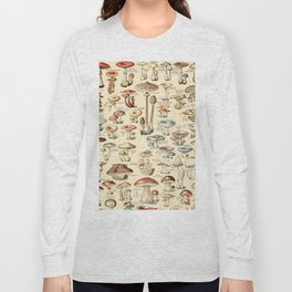 Trippy Vintage Mushroom Chart // Champignons by Adolphe Millot XL 19th Century Science Artwork Long Sleeve T-shirt