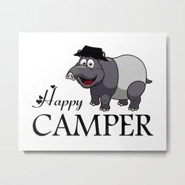 Happy Camper-Grey Tapir Metal Print