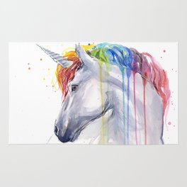 Rainbow Unicorn Watercolor Animal Magical Whimsical Animals Rug