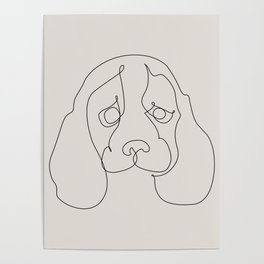 One Line Beagle Poster
