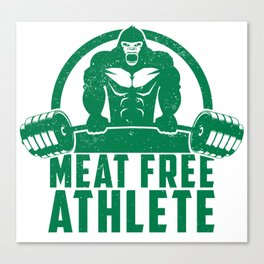Meat Free Athlete Vegan Gorilla - Funny Workout Quote Gift Canvas Print