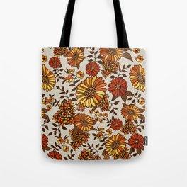 Retro 70s boho hippie orange flower power Tote Bag