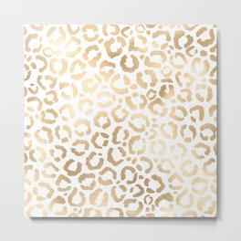Elegant Gold White Leopard Cheetah Animal Print Metal Print