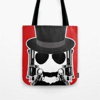 top gun Tote Bags featuring Gun Face by BuySkullCat