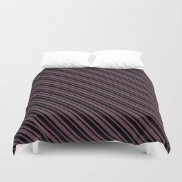 Eggplant Violet and Black Diagonal LTR Var Size Stripes Duvet Cover