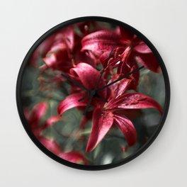 Pink garden lilies Wall Clock