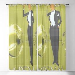 Vintage Champagne Yellow Veuve A. Devaux, Paris, Jazz Age Roaring Twenties Advertisement Poster Sheer Curtain
