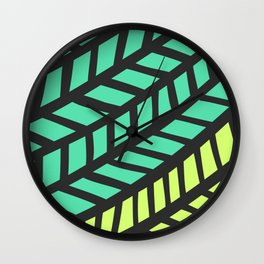 Lingering Lines Yellow and Green Wall Clock