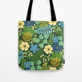Tropical Blue and Yellow Floral Tote Bag