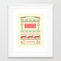 sweater Framed Art Prints featuring A Christmas Sweater by Sarajea