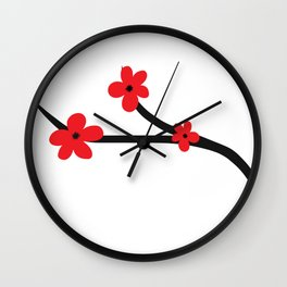 Beautiful Red and Black Japanese Cherry Blossom Flower Art Wall Clock
