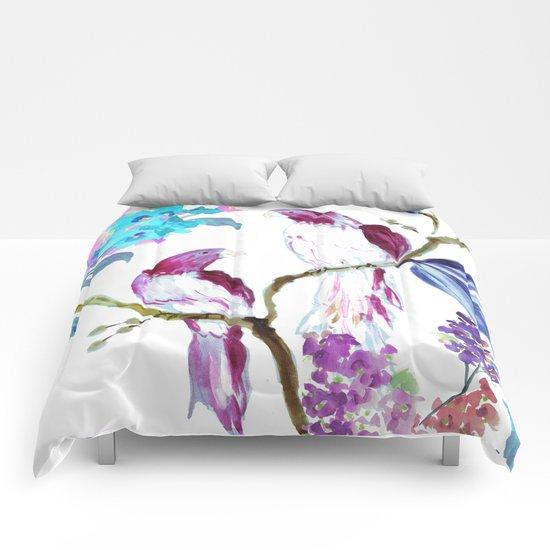 bird tropics floral Comforters