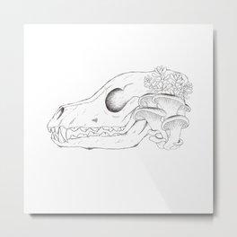 Overgrown Fox Skull Metal Print