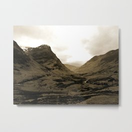 Glencoe, Scottish Highlands, Scotland in Sepia Metal Print