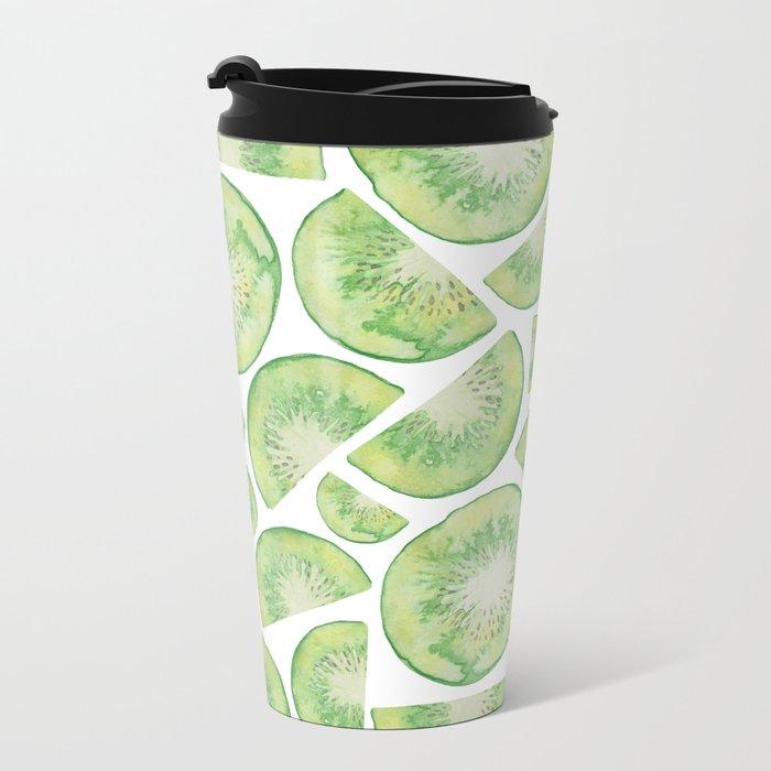 Watercolour Kiwi Fruit Metal Travel Mug