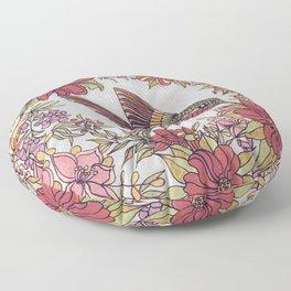 Hummingbird In Flowery Garden Wreath Floor Pillow