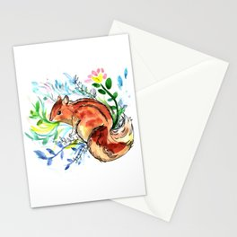 Cute Korea squirrel in sping flowers Stationery Cards