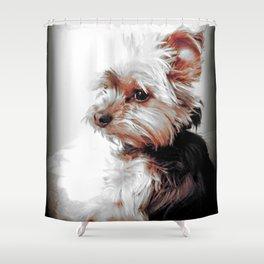 Sad Yorkie   Yorkies   Bad Day, Eh?!   Nadia Bonello Shower Curtain