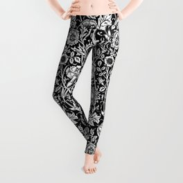 """William Morris Floral Pattern   """"Pink and Rose"""" in Black and White Leggings"""