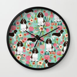 English Springer Spaniel florals cute dog art pet portraits by pet friendly dog breeds Wall Clock