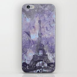 Purple Paris Watercolor Art iPhone Skin