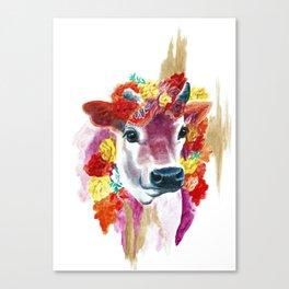Cow Indian Blossom Yoga Art Canvas Print