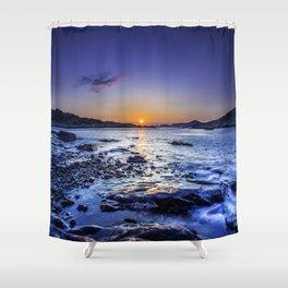 sunrise over horizon at seashore at dawn Shower Curtain