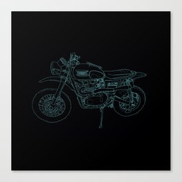 Blue Neon Motorcycle Canvas Print