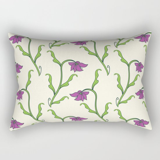 Purple Flower Pattern Rectangular Pillow