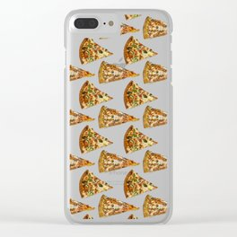 Spicy Meat Pizza Slice Polka Dot Pattern Clear iPhone Case
