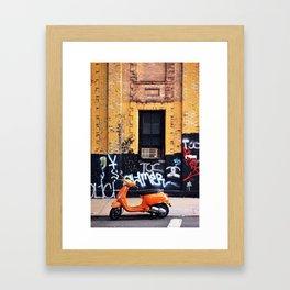 Orange Scooter Framed Art Print