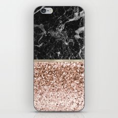 Warm chromatic - rose gold and black marble iPhone Skin