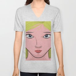 Blond Hair, Blue Eyes Unisex V-Neck