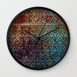 Grunge Bronze and blue Tribal Ethnic  Patter Wall Clock