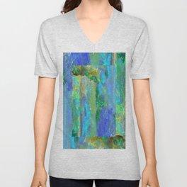 Blue-Aqua Opal Birthstone Inlay Abstract Unisex V-Neck