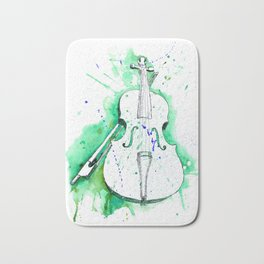 Water Color Violin (Teal) Bath Mat