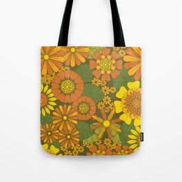Orange, Brown, Yellow and Green Retro Daisy Pattern Tote Bag