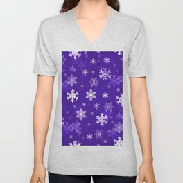 Light Purple Snowflakes Unisex V-Neck