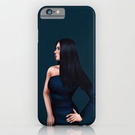 Glamorous Lady in Dark Blue Gown iPhone Case