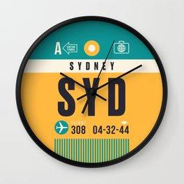 Baggage Tag A - SYD Sydney Australia Wall Clock